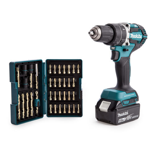 Makita DHP484RTJ 18V Cordless Li-ion Brushless Combi Drill with B-54536 Impact Gold Bit Set