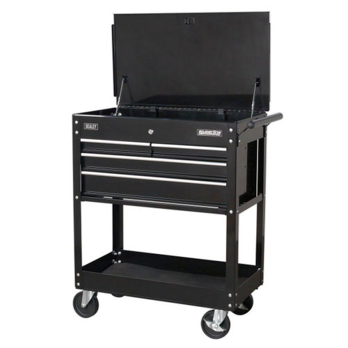 Sealey AP850MB Heavy-Duty Mobile Tool & Parts Trolley With 4 Drawers & Lockable Top (Black)