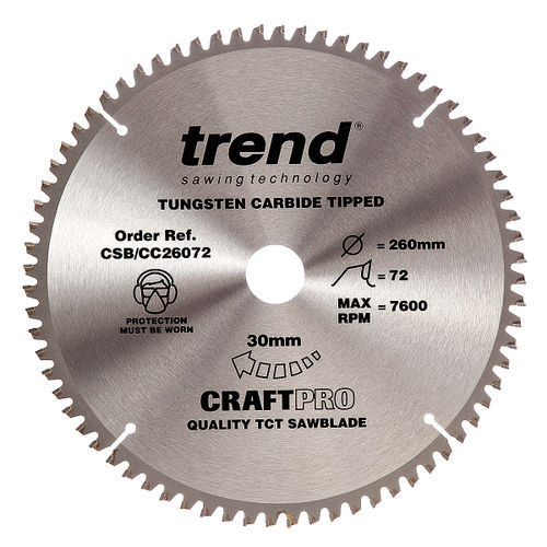 Trend CSB/CC26072 CraftPro Saw Blade Crosscut 260mm x 30mm x 72T