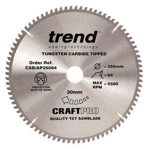 Trend CSB/AP25084 CraftPro Saw Blade Aluminium And Plastic 250mm x 84 Teeth x 30mm