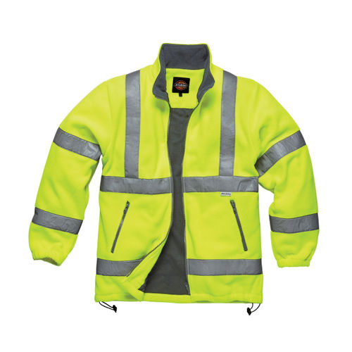Dickies SA22032 Hi-Vis Lined Fleece Jacket (Yellow) - XXL
