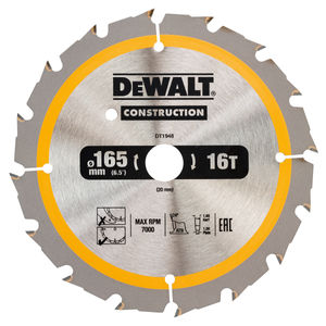 Dewalt DT1948 Construction Circular Saw Blade 165mm x 20mm x 16T