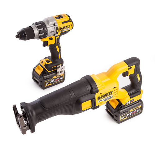 Dewalt DCK2057T2T-GB 18V DCD996 Combi Drill Driver + DCS388 54V Flexvolt Reciprocating Saw (2 x 6.0Ah Batteries)