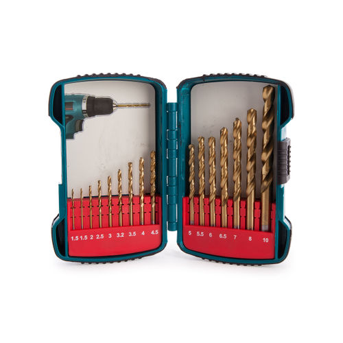 Makita P-51873 Straight Shank Titanium Plated HSS Drill Set 16 Piece