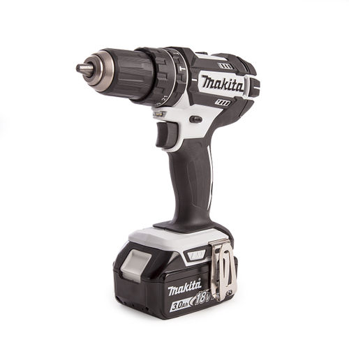 Makita DHP482RFWJ Combi Drill 18V Cordless LXT Li-ion in White with 2 x 3.0Ah Batteries, Charger and Makpac Type 2 Connector Case