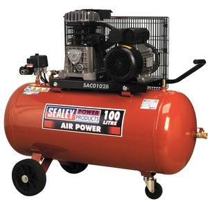 Sealey SAC0102B Compressor 100ltr Belt Drive 2hp With Cast Cylinders & Wheels