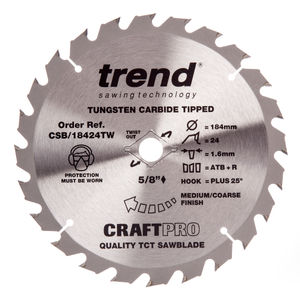 Trend CSB/18424TW CraftPro Saw Blade General Purpose 184mm x 24 Teeth