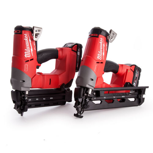 Milwaukee M18FPP2H-522X M18 Fuel Brad and Angled Finishing Nailer Kit (1 x 5.0ah + 1 x 2.0Ah Batteries)