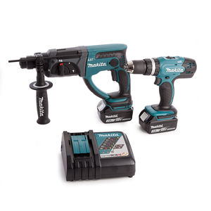 Makita DHP453 and DHR202 With DC18RC Charger + Medium Toolbag (2 x 3.0Ah Batteries)