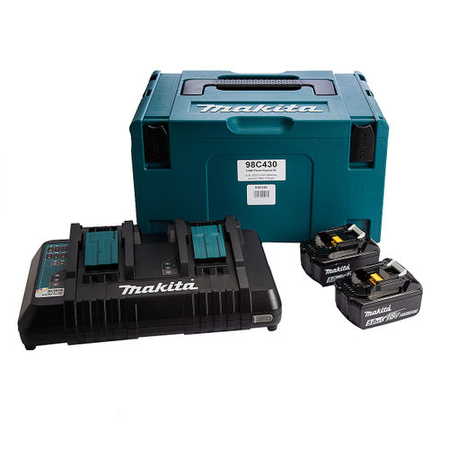 Makita 98C430 18V Power Source Kit (2 X 5.0AH li-ion Batteries, 1 x DC18RD Charger) in MakPac Carry Case