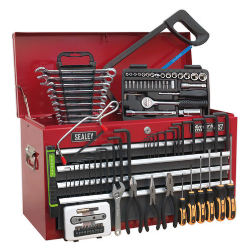 Sealey AP2201BBCOMBO Topchest 6 Drawer With Ball Bearing Runners - Red/Grey - 97 Piece Tool Kit
