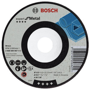 Bosch 2608600218 Metal Grinding Disc with Depressed Centre 115mm