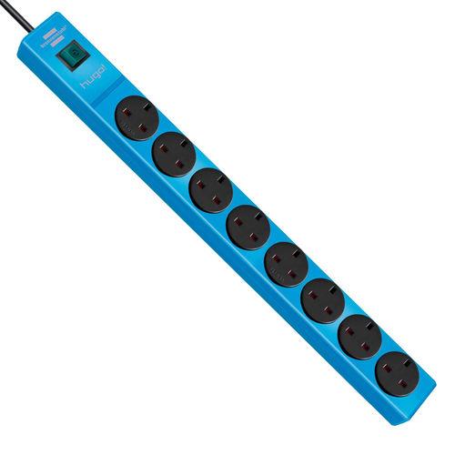 Brennenstuhl 1150613188 Hugo Extension Lead 3 Metre Cable 8-Way 240V - Blue