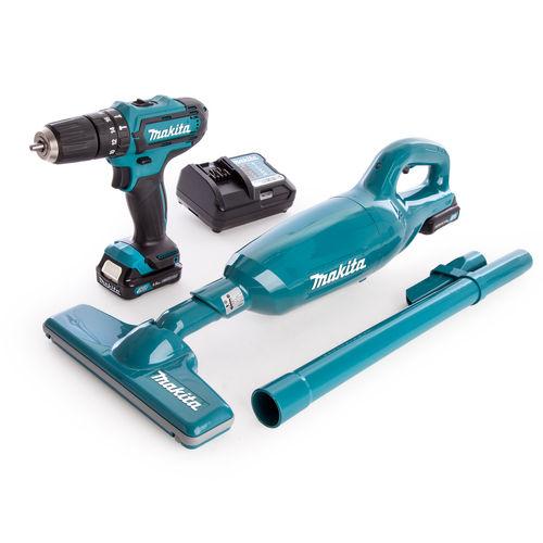 Makita CLX214X1 CXT 10.8V Cordless Combi Drill and Vacuum Kit (2 x 1.5Ah Batteries)