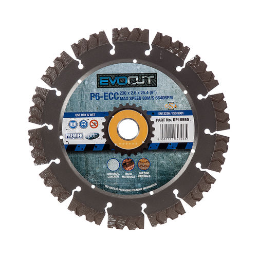 PDP DP16550 P6-ECC 6* EVOCUT GP Hard Concrete & Hard Material Diamond Blade 230mm x 22.2mm
