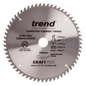 Trend CSB/CC25060T CraftPro Saw Blade Aluminium And Plastic 250mm x 60 Teeth x 30mm