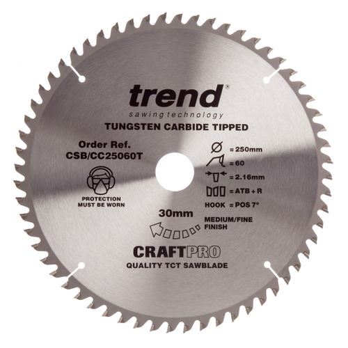 Trend CSB/CC25060T CraftPro Saw Blade Aluminium And Plastic 250mm x 60 Teeth x 30mm