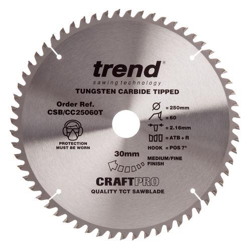 Trend CSB/CC25060T CraftPro Saw Blade for Aluminium & Plastic 250mm x 30mm x 60T