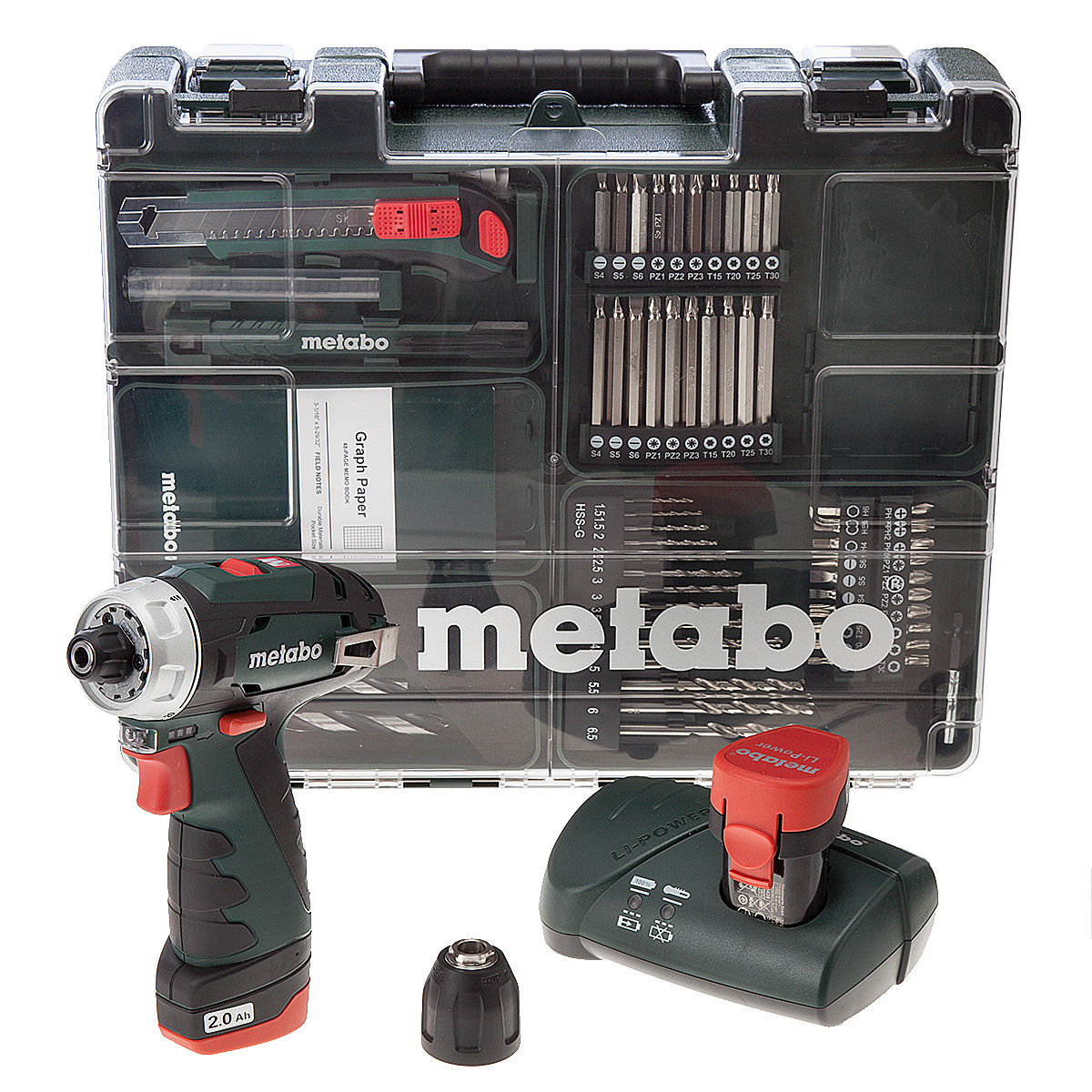 Tools & Electrical Tools Metabo PowerMaxx BS Basic Drill Driver (2 x 2.0Ah Batteries) with 62 Piece Mobile Workshop