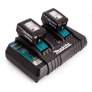 Makita DC18RD Twin Charger + 2 x BL1850B 18V 5.0Ah Batteries
