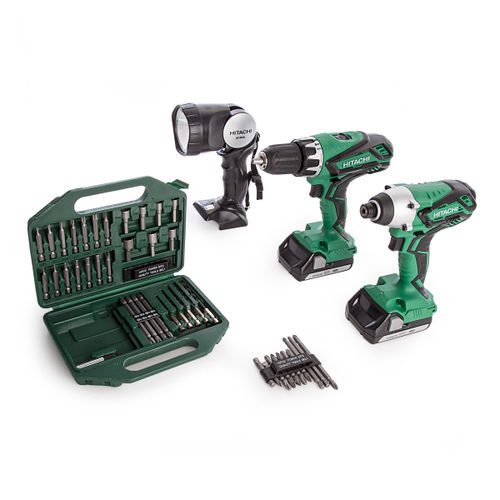 Hitachi KC18DGL/JA 18V Cordless 2 Piece Kit with UB18DAL Torch,42 Piece Bit Set and Small Bag (2 x 1.5Ah Batteries)