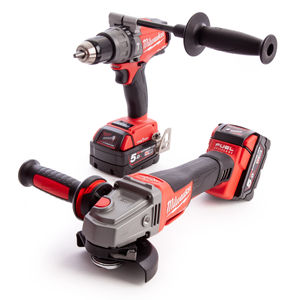 Milwaukee M18ONEPP2M-502B FUEL Thunderbolt Kit - Combi Drill & Grinder (2 x 5.0Ah Batteries)