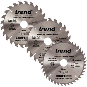 Trend 190mm Sawblade Triple Pack - 24T and 24T and 40T