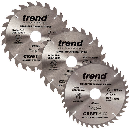 Trend 190mm Sawblade Triple Pack - 24T, 24T and 40T