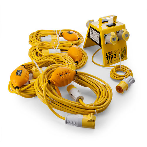 Just 110 Site Kit 3 Extension Leads x 4 - 2.5mmï¾_ x 14m + 4 Way Junction Box With USB Ports 110V