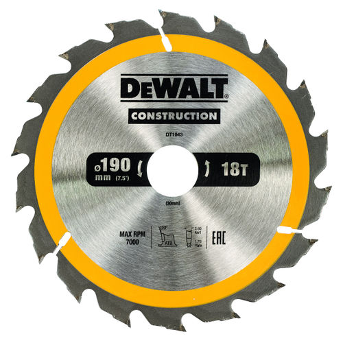 Dewalt DT1943 Construction Circular Saw Blade 190mm x 30mm x 18T