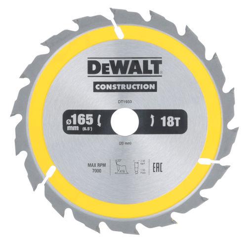 Dewalt DT1933 Construction Circular Saw Blade 165mm x 20mm x 18T