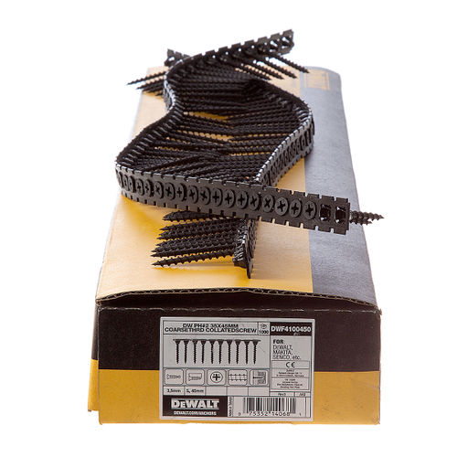Dewalt DWF4100450 Plastic Collated Drywall Screws Coarse Thread 45mm x 3.5mm (1000 in Box)