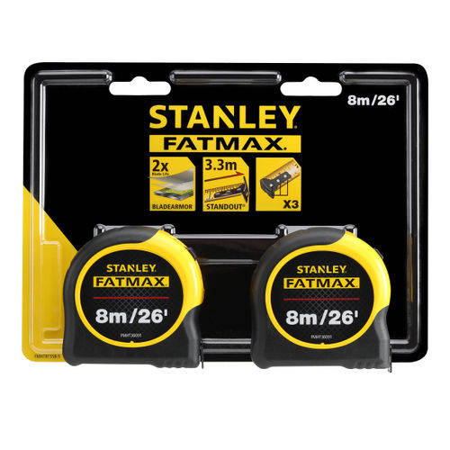 Stanley FMHT81558-5 Fatmax Classic Tape Measure Twin Pack 8 Metres / 26ft