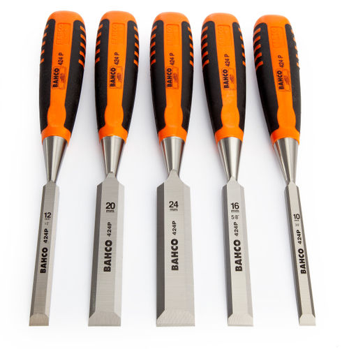 Bahco 424P-S5-ROLL Woodworking Chisel Set in a Roll 5 Piece