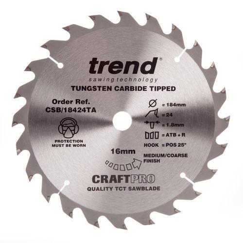Trend CSB/18424TA CraftPro Saw Blade General Purpose 184mm x 24 Teeth