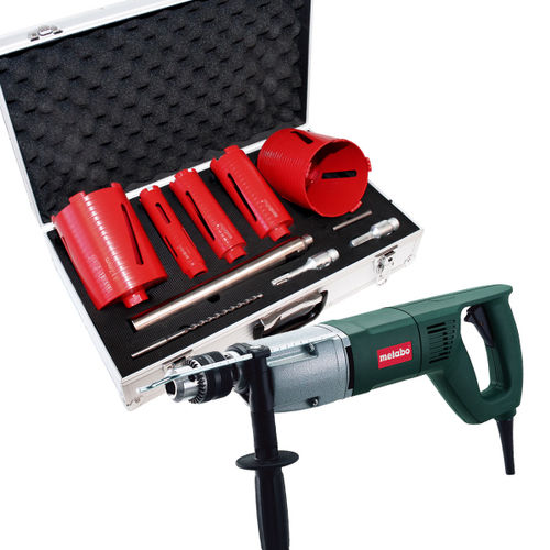 Metabo BDE1100 110V - 1,100W Rotary Drill - with 5 piece diamond core set