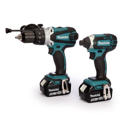 Makita DLX2145TJ 18V LXT Twin Pack - DHP458 Combi Drill + DTD152 Impact Driver (2 x 5.0Ah Batteries)