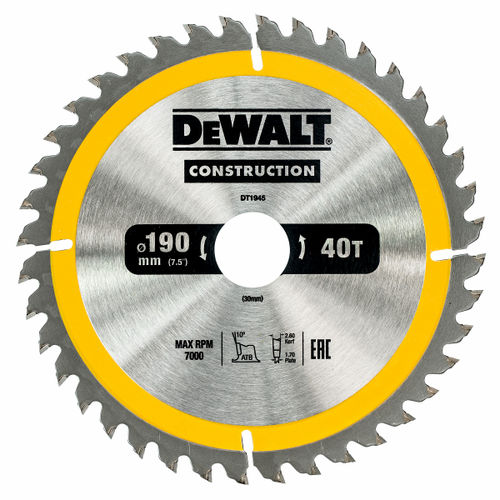 Dewalt DT1945 Construction Circular Saw Blade 190mm x 30mm x 40T