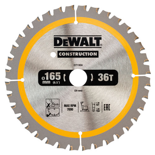 Dewalt DT1950 Construction Circular Saw Blade 165mm x 20mm x 36T