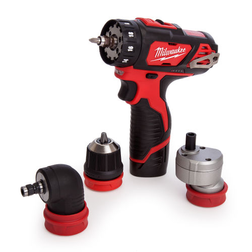 Milwaukee M12BDDXKIT-202C 4-in-1 Cordless Drill Driver (2 x 2.0Ah Batteries) with Attachments