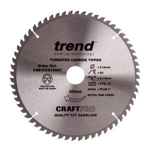 Trend CSB/CC21660T CraftPro Saw Blade Crosscut 216mm x 60 Teeth x 30mm