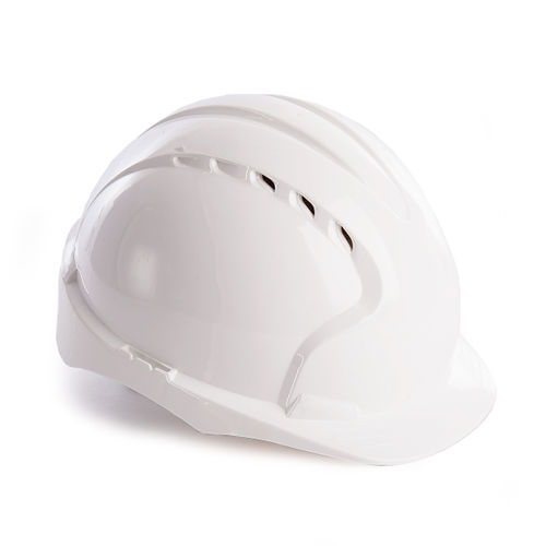 JSP AJF160-000-100 EVO3 Safety Helmet with Slip Ratchet - Vented - White