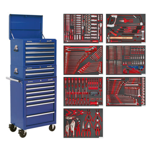Sealey TBTPCOMBO5 Tool Chest Combination 14 Drawer With Ball Bearing Runners - Blue & 446 Piece Tool Kit