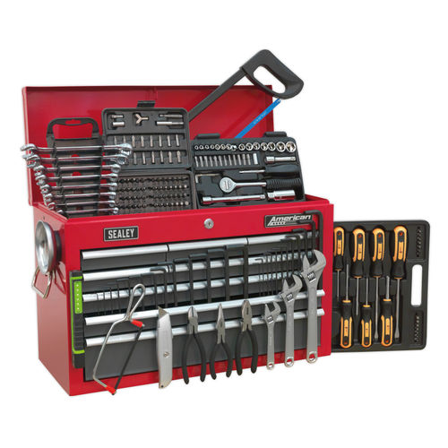 Sealey AP22509BBCOMB Topchest 9 Drawer With Ball Bearing Runners - Red/Grey - 204 Piece Tool Kit