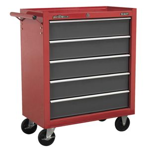 Sealey AP22505BB Rollcab 5 Drawer With Ball Bearing Runners - Red/grey