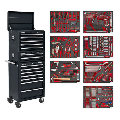 Sealey TBTPCOMBO2 Tool Chest Combination 14 Drawer With Ball Bearing Runners - Black & 446pc Tool Kit