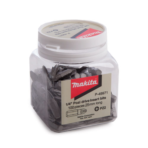 Makita P-49971 PZ2 Hex Insert Bits In Candy Tub 25mm (Pack of 100)