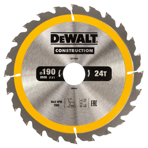 Dewalt DT1944 Construction Circular Saw Blade 190mm x 30mm x 24T
