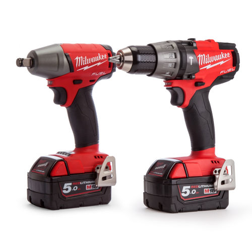 Milwaukee M18FPP2B-502X M18 Fuel Twinpack - FPD Combi Drill - FIWF12 Impact Wrench (2 x 5.0Ah Batteries)