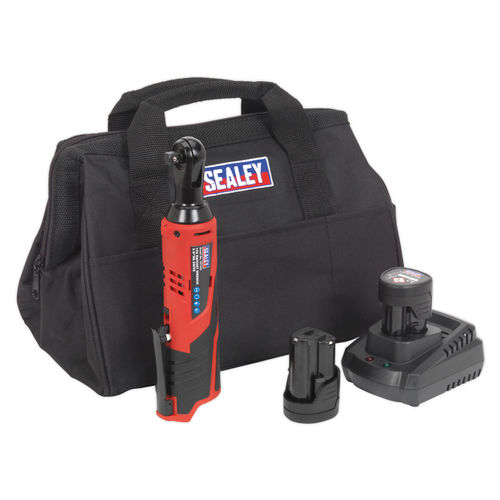 "Sealey CP1202KIT 12V li-ion Ratchet Wrench Kit 3/8""Sq Drive - 2 Batteries, Charger & Bag"
